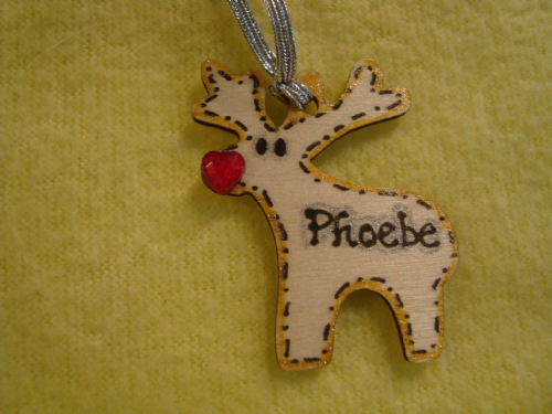 Mini Personalised Wooden Reindeer Tree Hanger Decoration Shabby Chic Names up to 7 letters